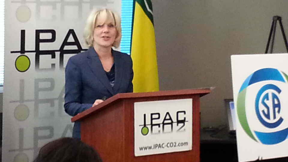 IPAC-CO2 chief executive Carmen Dybwad announces the world's first standard for carbon storage at a news conference Thursday in Regina.
