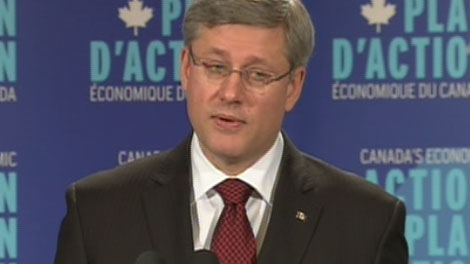 Prime Minister Stephen Harper reacts to a journalist's question during a press conference in which he announced an extension to the deadline for the economic action plan in Mississauga, Ont., on Thursday Dec. 2, 2010.