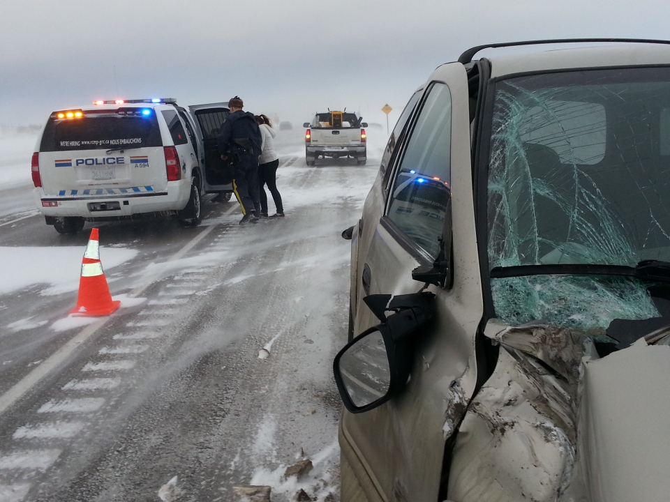 RCMP respond to several accidents Tuesday on the Trans-Canada Highway east of Regina.