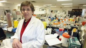 Dr. Allison McGeer in a laboratory at Mount Sinai Hospital in Toronto on Tuesday January 27, 2004. (/Frank Gunn / The Canadian Press)
