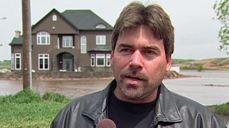 Estevan-area resident Rodney Benning speaks to CTV News at his flooded property Tuesday.