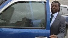Former Saskatchewan Roughrider Kennedy Nkeyasen is seen leaving court in Regina in this undated file photo.