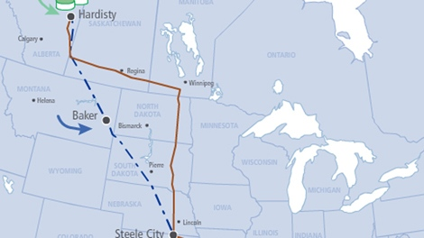 A map of the proposed Keystone XL pipeline is seen in this undated file photo.