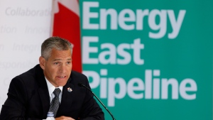 TransCanada CEO Russ Girling announces the company is moving forward with the 1.1 million barrel-per-day Energy East Pipeline project at a news conference in Calgary, Alta., on Thursday, Aug. 1, 2013. (Jeff McIntosh / THE CANADIAN PRESS)