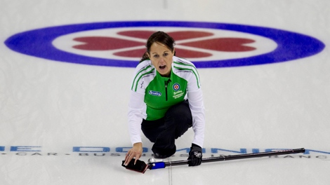 Saskatchewan skip Michelle Englot calls a shot during a morning draw against New Brunswick at the Scotties Tournament of Hearts in Red Deer, Alberta, Tuesday. THE CANADIAN PRESS/Jonathan Hayward
