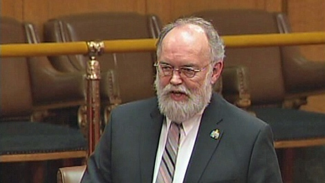 Saskatchewan NDP Leader John Nilson is seen in this screen image taken Thursday.