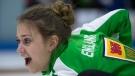 Saskatchewan third Sara England calls her shot during a draw against British Columbia at the Canada Winter Games in Prince George, B.C. Thursday, Feb. 26, 2015. THE CANADIAN PRESS/Jonathan Hayward