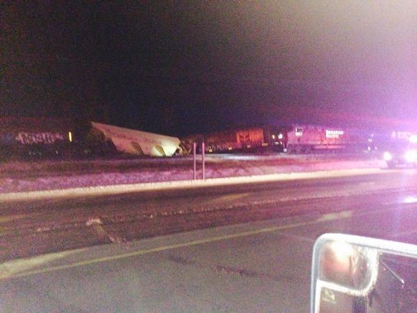 Two grain cars derailed near Estevan on Highway #39.