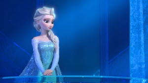 "This image provided by Disney shows a teenage Elsa the Snow Queen, voiced by Idina Menzel, in a scene from the animated feature ""Frozen."" (AP / Disney)"
