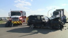A collision on Highway 46 near Pilot Butte sent one person to hospital late Thursday afternoon.
