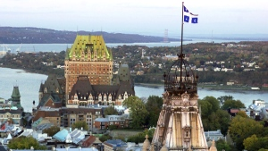The skyline of old historic Quebec City with the St.Lawrence valley and the Island of Orleans, in the background, on Oct. 2, 2001. (Jacques Boissinot / THE CANADIAN PRESS)