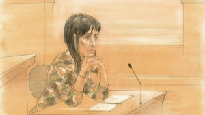 Lucy DeCoutere is seen on the stand at a Toronto courthouse on Friday, Feb. 5, 2016. (John Mantha / CTV Toronto)