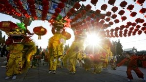 Performers participate in a lion dance at Ditan Park to mark the first day of Chinese Lunar New Year in Beijing, Monday, Feb. 8, 2016. (AP / Andy Wong)