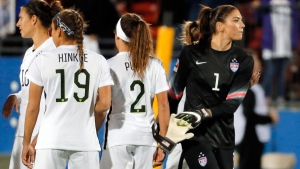 U.S. goalie Hope Solo, right, in Frisco, Texas, on Feb. 10, 2016. (AP / Tony Gutierrez)