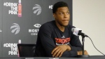 Toronto Raptors guard Kyle Lowry answers questions at the team's training facility in Toronto on Monday, May 2, 2016. (Neil Davidson / THE CANADIAN PRESS)