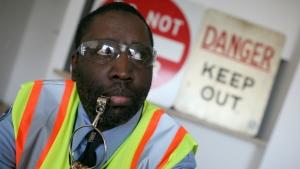 Darius McCollum dressed as a New York City transit worker.