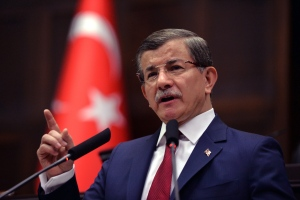 In this photo taken on Tuesday, May 3, 2016, Turkey's Prime Minister Ahmet Davutoglu addresses his lawmakers at the parliament in Ankara, Turkey. (AP Photo)
