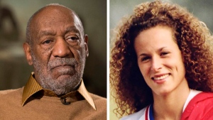 In this combination of file photos, entertainer Bill Cosby pauses during an interview in Washington on Nov. 6, 2014, and Andrea Constand poses for a photo in Toronto on Aug. 1, 1987. (AP / Evan Vucci, left, and Ron Bull / Toronto Star / The Canadian Press via AP, right)