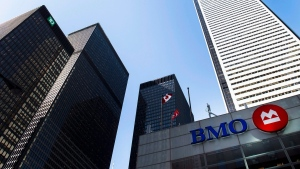 The BMO office tower is shown in Toronto's financial district in Toronto on Tuesday, April 5, 2016. BMO had their annual general meeting for the year. THE CANADIAN PRESS/Nathan Denette