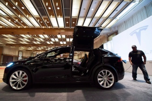 A Tesla Model X is shown at the 2016 Canadian International Autoshow in Toronto on Thursday, February 11, 2016. (Nathan Denette / THE CANADIAN PRESS)