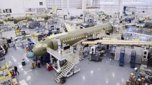 Bombardier's CS100 assembly line in Mirabel, Que., on December 18, 2015. (Ryan Remiorz / THE CANADIAN PRESS)