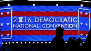 A member of the media shoots video during setup before the 2016 Democratic Convention, Sunday, July 24, 2016, in Philadelphia. (AP / John Locher)