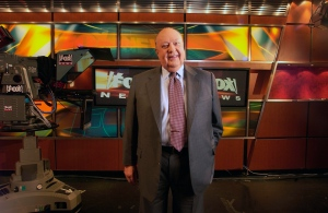 In this Sept. 29, 2006 photo, Fox News CEO Roger Ailes poses at Fox News studio in New York. (AP / Jim Cooper)