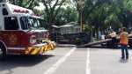 A vehicle ended up on its side after a crash in the Cathedral neighbourhood on Tuesday. (CALLY STEPHANOW/CTV REGINA)