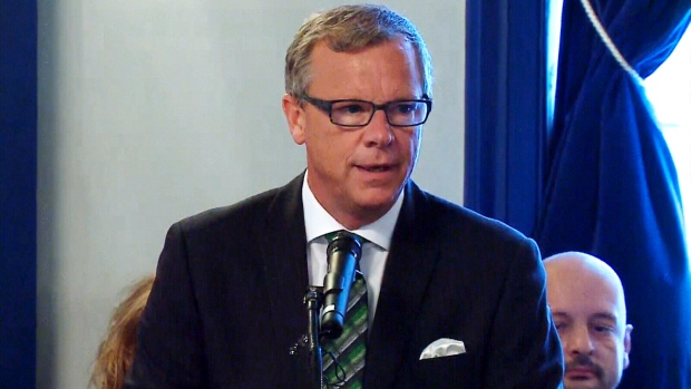 Saskatchewan Premier Brad Wall unveils his newly shuffled cabinet at Government House in Regina on Tuesday, Aug. 23, 2016.