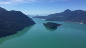 Green water is seen in the Howe Sound in B.C. (CTV)