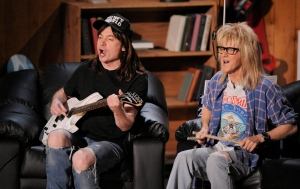 Mike Myers, left, and Dana Carvey, of 'Wayne's World' are seen on stage at the MTV Movie Awards on Sunday June 1, 2008 in Los Angeles.(THE CANADIAN PRESS/AP/Mark J. Terrill)