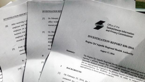 Report from the Privacy Commissioner. (DALE HUNTER/CTV REGINA)