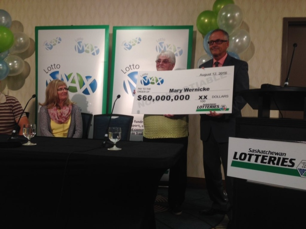 Mary Wernicke claims a $60 million Lotto Max prize in Regina on Thursday, Aug. 25, 2016. (JAMIE FISCHER/CTV REGINA)