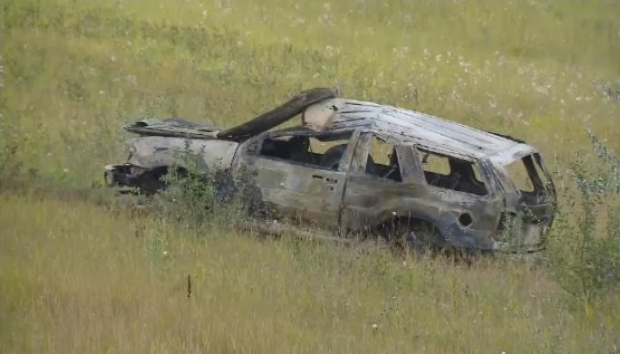 Two people were taken to hospital after a fiery rollover crash near Belle Plaine on Friday, Aug. 26, 2016.
