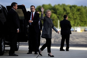 Democratic presidential candidate Hillary Clinton walks to her campaign plane at Portsmouth International Airport at Pease in Portsmouth, N.H., Wednesday, Sept. 28, 2016. (AP / Matt Rourke)