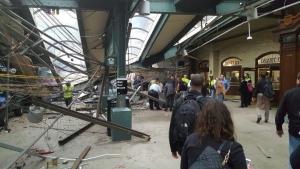 This photo provided by Ian Samuel shows the scene of a train crash in Hoboken, N.J., on Thursday, Sept. 29, 2016. (Ian Samuel via AP)