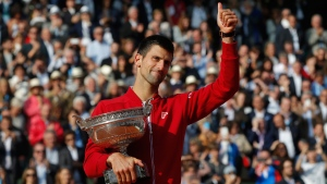 Novak Djokovic after winning the final of the French Open in Paris, France, on June 5, 2016. (Michel Euler / AP)