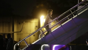 Democratic presidential candidate Hillary Clinton boards her campaign plane at Miami International Airport in Miami Friday, Sept. 30, 2016. (AP / Matt Rourke)