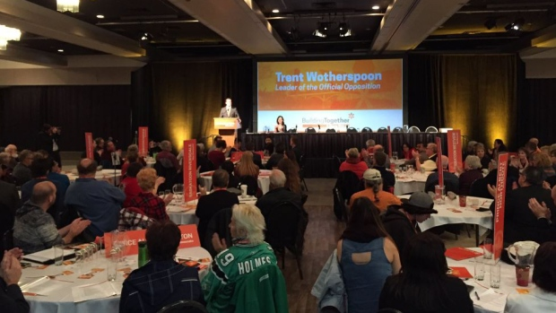 Saskatchewan NDP leader Trent Wotherspoon addresses the NDP Convention in Saskatoon on October 22, 2016. (Taylor Rattray / CTV Saskatoon)