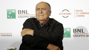 Director Bernardo Bertolucci poses for photographers during a photo call at the Rome Film festival in Rome on Oct. 15, 2016. (AP / Gregorio Borgia)
