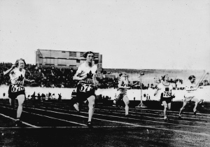 Ethel Smith (left), who won the bronze medal, and Fanny Rosenfeld (second from left) of Canada who won silver, run in the women's 100-metre race at the Summer Olympic Games in Amsterdam, Netherlands in this photo taken in 1928. (National Archives of Canada / THE CANADIAN PRESS)