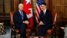 Prime Minister Justin Trudeau meets with US Vice-President Joe Biden on Parliament Hill in Ottawa on Friday, December 9, 2016. THE CANADIAN PRESS/ Patrick Doyle