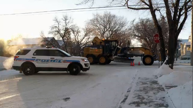 A pedestrian was hit by a slow-moving grader on Jan. 16, 2017.