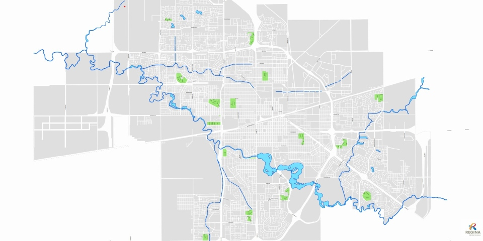 Map of the city of Regina green cart pilot