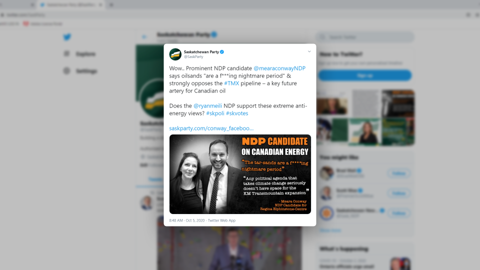 Sask. party anti-oil social media attack