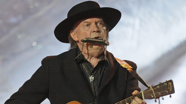 Canadian singer Neil Young performs during the closing ceremony for the Vancouver 2010 Olympics in Vancouver, British Columbia, Sunday, Feb. 28, 2010. (AP Photo/Jae C. Hong)