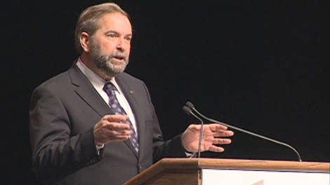Federal NDP Leader Tom Mulcair addresses delegates Friday at the Federation of Canadian Municipalities meeting in Saskatoon.