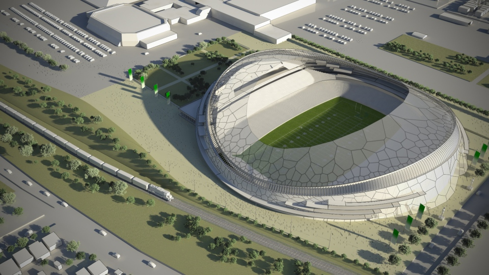 A design concept for Regina's new football stadium is seen in this file photo.