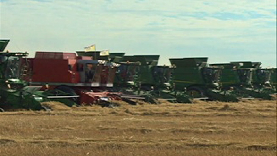 Saskatchewan farmers set the world record for most combines harvesting simultaneously.